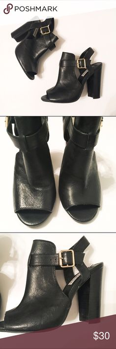 Steve Madden Kyli Black Sandals These are gently used Steve Madden Kyli Black Sandals. Leather upper. In excellent condition overall. Signs of wear on bottoms. Some loose strings that can be easily cut. Steve Madden Shoes Heels