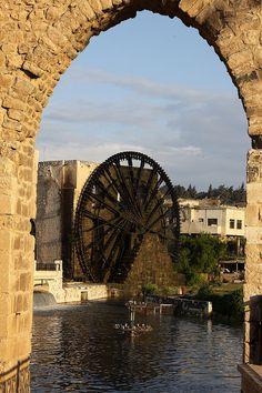 The norias or waterwheels of Hama, Syria