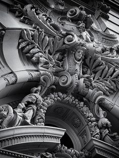 Elaborate building facade in the Beaux Arts style, Camp St., Central Business District, New Orleans, LA