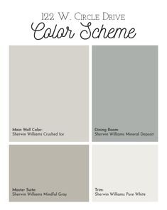 This Sherwin Williams color scheme includes Crushed Ice as the main color, Mineral Deposit for the dining room, Mindful Gray for the master suite and Pure White trim.
