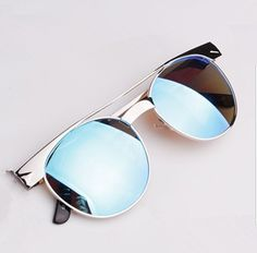 2014 new Vintage retro metal round frame sunglasses Reflective fashion brand designer women sun glasses oculos de sol M6-in Sunglasses from ...