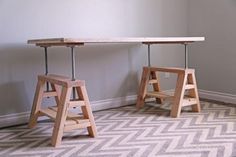 Modern Indsutrial Adjustable Sawhorse Desk To Coffee Table