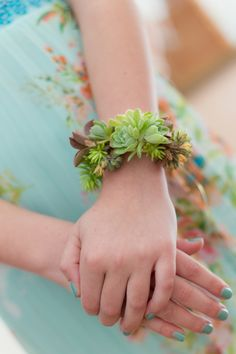 Beautiful succulent wrist corsage! via Every Little Detail