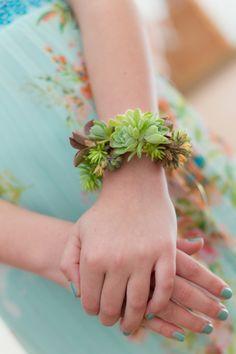 Beautiful succulent wrist corsage! via Every Little Detail