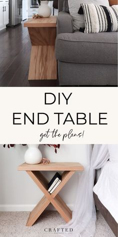 Whether you're looking for a new side table for your living room or a simple bedside table, this DIY end table tutorial is perfect for you! This DIY side table is versatile and can act as a magazine holder too. The x detail is the perfect place to store books and magazines. Ikea Side Table, Diy End Tables, Side Table Decor, Table Decor Living Room, Side Tables Bedroom, Living Room End Tables, Wood Side Tables, Diy Furniture Tutorials, Diy Furniture Plans Wood Projects