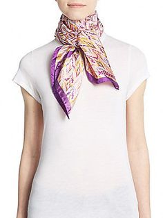 Missoni Printed Square Silk Scarf - Purple - Size No Size