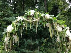 White and green flowers for arbor - greenery wedding arch - wedding arbor - hydrangeas - lemon leaf - hanging amaranthus - with pearls and jewels    Lisa Foster Floral Design www.lisafosterdesign.com