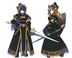 2girls armor armored_dress blue_eyes blue_hair bow braid breastplate breasts character_request commentary_request full_body gauntlets green_eyes hair_bow hand_on_hip helmet lance long_hair long_skirt multiple_girls pauldrons pelvic_curtain polearm ragnarok_online shield sidelocks single_braid skirt sword visor_(armor) weapon white_background xration