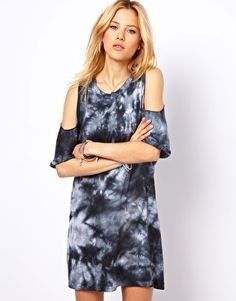 Image 1 ofASOS Shift Dress In Tie Dye With Cold Shoulder