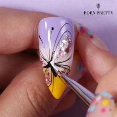 Beauty Hacks Nails, Nail Art Hacks, Nail Art Diy, Acrylic Nail Designs Classy, Creative Nail Designs, Butterfly Nail Designs, Butterfly Nail Art, New Nail Art Design, Nail Design Video