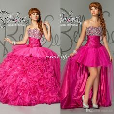 2015 Sexy Two Pieces Quinceanera Dresses Detachable Train Ball Gown Strapless Beaded Fuchsia Hi Lo Cocktail Prom Dress Gowns for Quinceanera Online with $131.04/Piece on Sweet-life's Store | DHgate.com