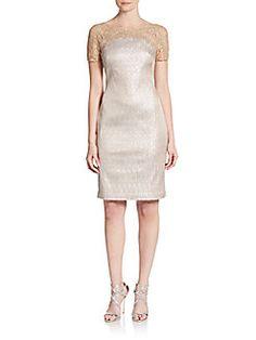 Metallic Lace-Yoke Sheath Dress Kay Unger $540.00   now$199.99 (62% Off)