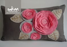 Sukan / Pink Flowers Pillow Cover inch by sukanart on Etsy Sewing Pillows, Diy Pillows, Decorative Pillows, Throw Pillows, Flower Embroidery Designs, Silk Ribbon Embroidery, Brown Pillow Covers, Sewing Crafts, Sewing Projects