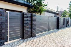 Shades of Bronze House Front Wall Design, House Fence Design, Front Yard Garden Design, Modern Fence Design, Front Gate Design, Main Gate Design, Door Gate Design, Front Yard Fence, Building A Fence