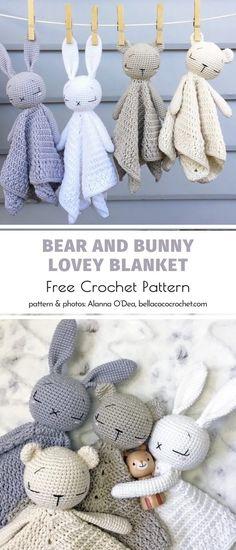 Crochet Lovey Free Pattern, Crochet Animal Patterns, Crochet Blanket Patterns, Crochet Baby Blanket Patterns, Free Baby Patterns, Crochet Baby Toys, Crochet Baby Blankets, Crochet Baby Stuff, Crochet Stuffed Animals
