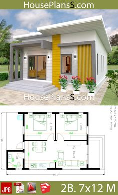 Small House Design Plans 7x12 with 2 Bedrooms Full Plans - House Plans Sam Small House Layout, Small Modern House Plans, Modern Small House Design, House Layout Plans, Simple House Design, House Plans One Story, House Floor Plans, Story House, Two Bedroom House Design