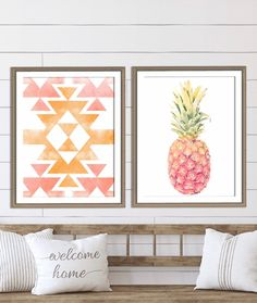 Set of 2 Pink and Gold Nursery Print