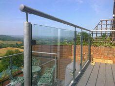 Galvanized Steel Glass Balustrade / balcony / bannister / Metal Garden railings | eBay c £200/m also powder coated diometfabs