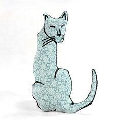 cat shaped small pillow kitty softie light green by pattihaskins