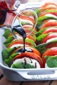 Light and easy appetizer or side dish, loaded with tomatoes, fresh mozzarella, and basil with a sweet balsamic reduction