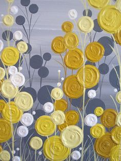 Yellow and Grey Textured Flower Art Acrylic Painting on Canvas Size: Ranges from 16x20 to 24x36-- Be sure to select your size and price at