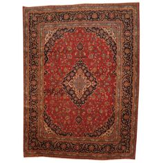 Antique 1960's Persian Hand-knotted Kashan Red/ Navy Wool Rug (9'7 x 13') $1422 Overstock™ Shopping - Great Deals on 7x9 - 10x14 Rugs