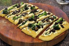 Day 21: Flatbread with Morel Mushrooms, Grilled Ramps and Roasted Broccoli   #veganpopup #vegan #food #dinner #flatbread #morelmushrooms #mushrooms #ramps