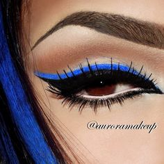 Amp up your night look with electric blue eyeliner. Blue Eye Makeup, Makeup For Brown Eyes, Skin Makeup, Eyelashes Makeup, Blue Eyeshadow, False Eyelashes, Pretty Makeup, Love Makeup, Awesome Makeup