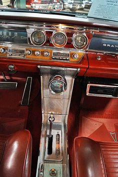 1963 Pontiac Grand Prix: all-steel dash & no seat belts Pontiac Grand Prix, Pontiac Cars, Chevrolet Corvette, Classic Chevy Trucks, Classic Cars, Muscle Cars, Automobile, Us Cars, Vintage Trucks