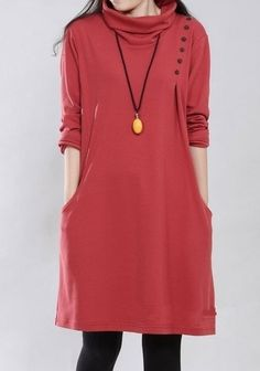 Classical High Neck Cotton Pure Casual-dresses(plus Size) Casual Dresses from fashionmia.com