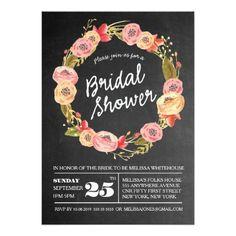 Chalkboard Floral Wreath Bridal Shower 5x7 Invite. Artwork designed by Pip_Gerard. $.86