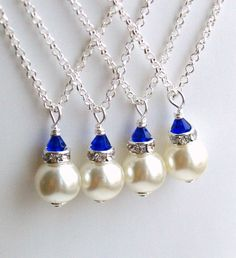 Royal Blue Necklace, Bridesmaid Gift Jewelry, Royal Blue Ivory Swarovski Pearl Beads Bridesmaid Necklace, Bridesmaid Jewelry Wedding party Sterling Silver Jewelry From Israel Bridesmaid Accessories, Bridesmaid Jewelry Sets, Bridesmaid Gifts, Wedding Jewelry, Wedding Necklaces, Prom Jewelry, Girls Jewelry, Body Jewelry, Jewelry Shop