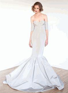 Katie Ermilio soft silver grey gown