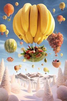 Imagem: 'Balão de Banana' (© Carl Warner)