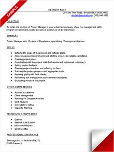 ideas about project manager resume on pinterest   sample    it project manager resume sample