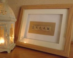 Realx, Dream, Enjoy Scrabble Frame Find more designs at www. Scrabble Frame, Household, Handmade, Design, Home Decor, Craft, Interior Design, Design Comics, Home Interior Design