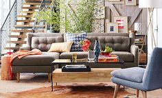 I like the pops of color against the neutrals in this one.  West Elm Tonal, Textured Living Room on westelm.com/