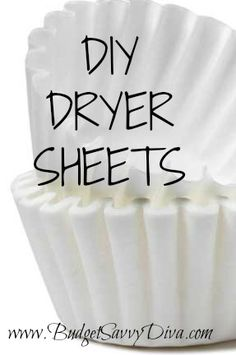 DIY Dryer Sheets | a lot of dryer sheets contain animal fat.  It really doesn't get much easier than this! Per load, use one coffee filter and 1/2 or 1 teaspoon of liquid softener (depending on the size of the load) and rub the liquid softener into the filter and throw into your dryer. Save money? Check. Easy? Check.  WORKS? Will have to find out