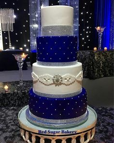 Cake by ・・・ This royal blue blinged out cake 😍! Congratulations to Raman and Harket! Royal Blue Cake, Royal Blue Wedding Cakes, Bling Wedding Cakes, Fondant Wedding Cakes, Elegant Wedding Cakes, Beautiful Wedding Cakes, Wedding Cake Designs, Cake Fondant, Royal Blue Wedding Decorations