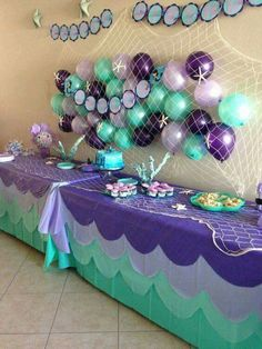 Balloons in net fire under the sea theme