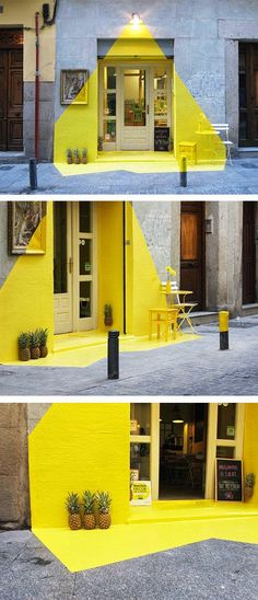 Love this selective use of colour. #neon #yellow #geometry