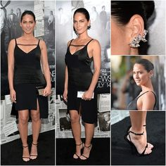 #style: Olivia Munn in a sleek #LBD by Thakoon—Newsroom 2 Premiere. She accessorized her ensemble with glowing skin, a dazzling ear cuff and Giuseppe Zanotti shoes. #fashion