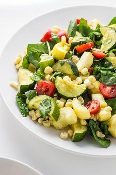 Grilled Tofu Summer Veggie Salad – Wee Little Vegans Yellow Squash And Zucchini, Grilled Tofu, Vegan Grilling, Tahini Sauce, Vegans, Pasta Salad, Vegan Vegetarian, Spinach, Ethnic Recipes