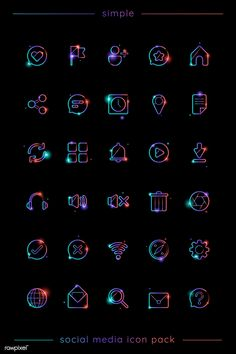 Not sure if / how well these icons would translate to a white background. I like the idea of the light / element of it, but don't think it works for all uses. Videos Instagram, Story Instagram, Instagram Logo, Instagram Design, Free Instagram, Instagram Images, Icon Set, Letras Cool, Silvester Make Up