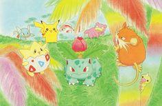 Wartortle, Pikachu, Goldeen, Slowpoke, Togepi, Venusaur, Raticate, Weedle (Pokemon Southern Islands Trading Card Game postcard artwork, 2001)
