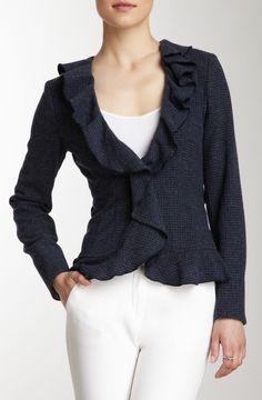 Armani Jeans Ruffled Print Wool Blend Jacket