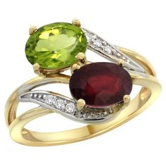 10K Yellow Gold Diamond Natural Peridot  HQ Ruby 2stone Ring Oval 8x6mm size 95 *** Want to know more, click on the image.Note:It is affiliate link to Amazon.