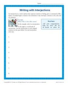 Hurrah for this worksheet on writing with interjections! Printable Math Worksheets, Writing Worksheets, 5th Grade Writing, Parts Of Speech, Math Facts, Common Core Standards, English Lessons, 5th Grades