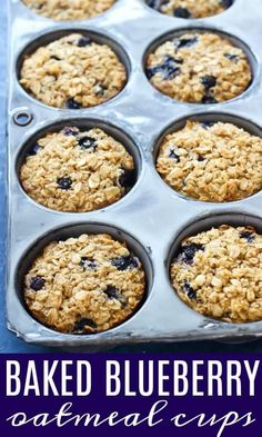 These Baked Blueberry Oatmeal cups are the perfect make ahead and grab on the go breakfast for your family! The Oatmeal, Oatmeal Bites, Baked Oatmeal Cups, Blueberry Oatmeal, Blueberry Breakfast, Baked Oats, Overnight Oatmeal, Healthy Breakfast Recipes, Easy Healthy Recipes
