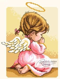 Angel in Prayer GIRL by CrossStitchRinna on Etsy